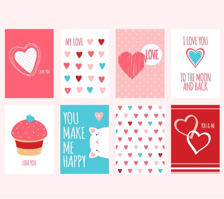 Be my Valentine. Set of Valentine's day banner, background, flyer, placard with hearts. Holiday poster, vector template card, sticker for greeting, decoration, congratulation, invitation. EPS8 Иллюстрация