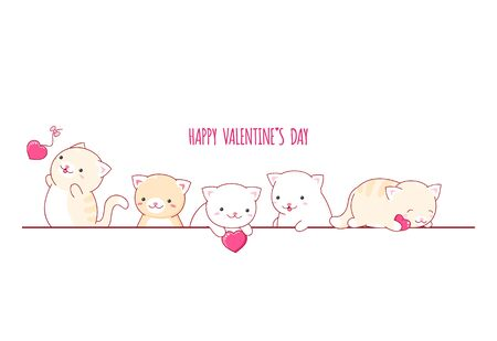 Valentines day vector border with cute cats in kawaii style and red hearts. Can be used for Valentine card, background, banner. EPS8