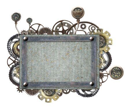 Metallischer Rahmen mit Vintage-Maschinenzahnrädern und Retro-Zahnrad. Isoliert auf weißem Hintergrund. Mock-up-Vorlage. Kopieren Sie Platz für Text. Kann für Steampunk und mechanisches Design verwendet werden Standard-Bild