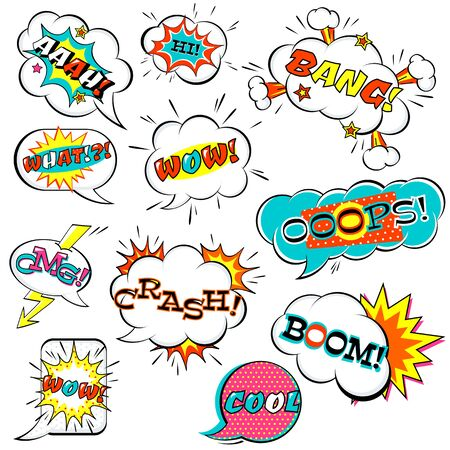 Set of comic speech bubble with inscription: boom, wow, what, bang, omg, aah, boom, crash, hi, cool. Collection of vector cartoon explosions and clouds. EPS8 Stock Illustratie