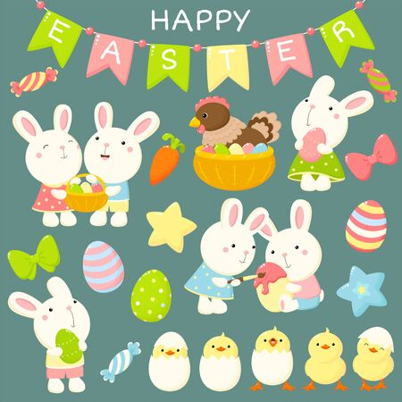 Happy Easter collection. Cute cartoon characters set. Baby rabbits with Easter eggs, cheerful chicken in an eggshell, chicken in a basket. EPS8