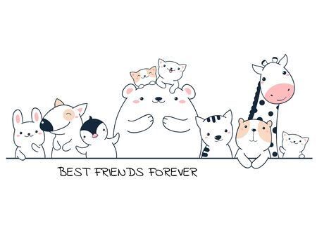Best friends forever. Horizontal poster with cute animals  - bear, giraffe, penguin, dog, rabbit, cat in kawaii style. Isolated on white background. EPS8