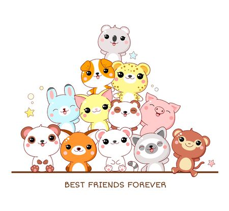 Best friends forever. Square poster with cute animals - monkey, panda, fox, lemur, pig, leopard, dog, rabbit, cat, koala in kawaii style. Isolated on white background. EPS8