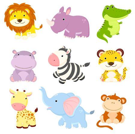 Set of animals of Africa. African animals cubs collection. Cute cartoon characters - lion, rhino, crocodile, hippo, zebra, leopard, giraffe, elephant, monkey. EPS8 Illustration
