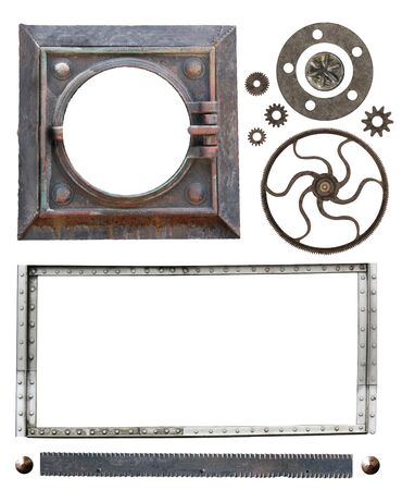 Collection of vintage border, metal frame and retro machine gear wheels. Isolated on white background. Mock up template. Copy space for your text. Can be used for steampunk and mechanical design