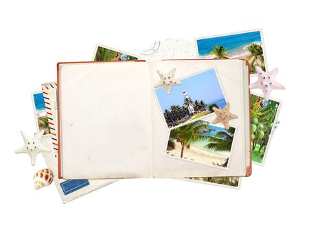 Travel concept. Opened book with empty pages, vintage photos, retro postcard, label, starfish and shell. On white background. Mock up template. Copy space for text