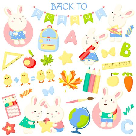 Back to school. Vector set of education icons and stickers in kawaii style.