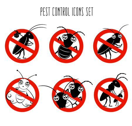 Stop pests concept. Pest control icons set. Collection of signs for informational and institutional related sanitation and care with funny cute cartoon insect in kawaii style. Vector illustration EPS8 Illustration