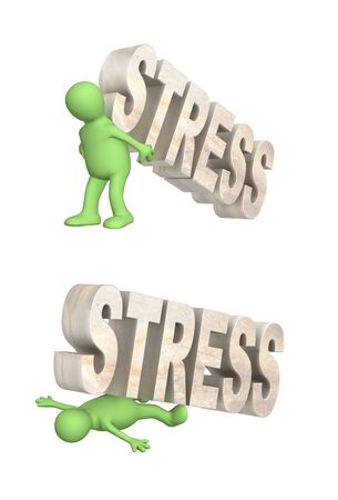 Stress concept. Stressed and frustrated. 3d man crushed by the stone word stress, green puppet raises a stone word stress. Isolated on white background. 3d render