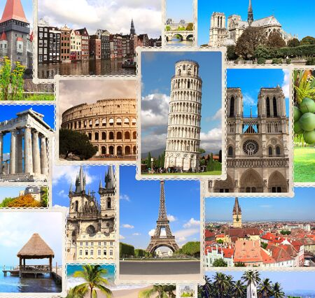 Vintage travel background with retro photos of european landmarks. Eiffel tower in Paris, Leaning Tower of Pisa, Colosseum in Rome, old houses in Amsterdam