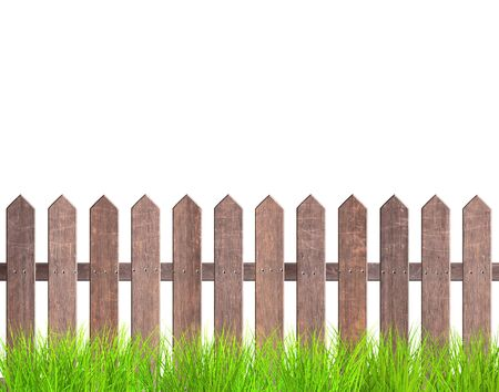 Rustic wooden fence and green grass. Old garden fence with wood planks and with metal rivets. Isolated on white background. 3d render Stock Photo