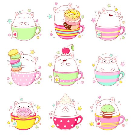 stickers collection. Set of cute cat in tea cup, with macaroon, donut and cupcake. Illustration