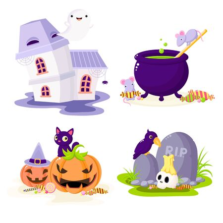 Set of Halloween cartoon characters. Mice and witch cauldron, ghost in haunted house, raven and skull at the grave, black cat on pumpkins. Collection of holiday symbols. Isolated on white.