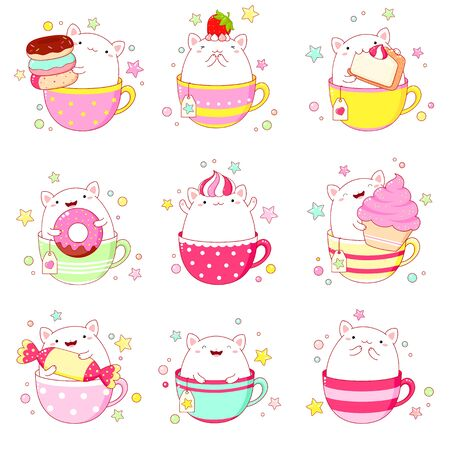 stickers collection. Set of cute cat in tea cup, with macaroon, donut and cupcake. Vector illustration Çizim