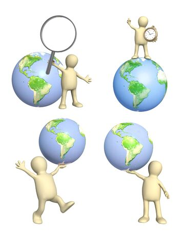 Set of 3d mans with Earth. Puppet with magnifier, clock and globe. Isolated on white background. Фото со стока