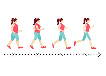 Four identical girls show process of losing weight. Slimming stages. Progress fitness and diet. Process of losing weight of a woman.Young woman before and after slimming. Stages of weight loss. EPS8 Vectores