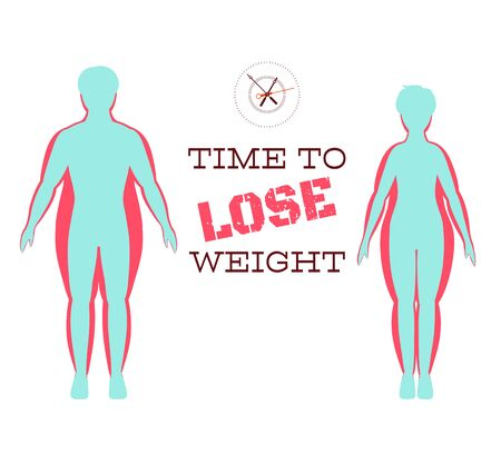 Silhouettes of man and woman show process of losing weight. Slimming stages. Progress fitness and diet. Process of losing weight. Man and woman before and after slimming. Stages of weight loss. EPS8 Vectores