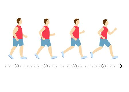 Five identical man show process of losing weight. Slimming stages. Progress fitness and diet. Process of losing weight of a male.Young man before and after slimming. Stages of weight loss.