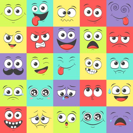 Seamless pattern with emoticons with different mood. Smile cartoon emoji face happy, sad, fear, crazy. Endless texture can be used for pattern fills, web page background, surface textures.