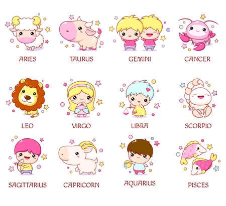 Set of zodiac sign characters in style. Cute chibi baby and animal. Aquarius, pisces, aries, leo, gemini, taurus, scorpio, sagittarius, libra, virgo, capricorn, cancer. Vector illustration EPS8