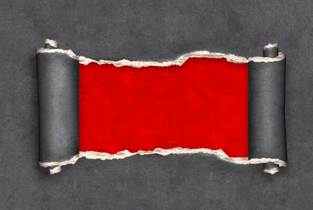 Horizontal background with ragged hole torn in ripped paper of dark gray color. Backdrop with red hole in black paper. Breakthrough paper. Mock up template. Copy space for text
