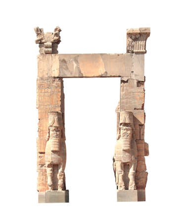 Front view of Gate of All Nations (Xerxes Gate) with stone statues of lamassu in ancient city Persepolis, Iran. Isolated on white background