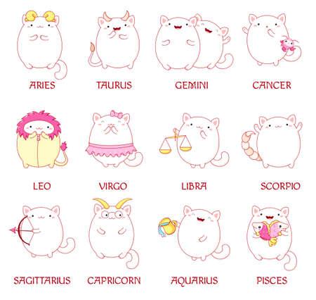 Feline horoscope. Set of zodiac sign character in kawaii style. Cute cats in costume of aquarius, pisces, aries, leo, gemini, taurus, scorpio, sagittarius, libra, virgo, capricorn, cancer. Vector