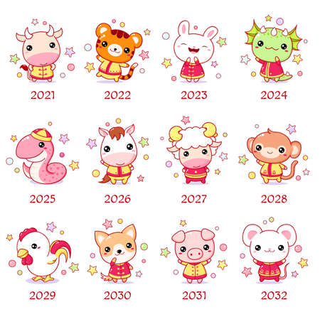 Set of chinese new year sign characters in kawaii style. Cute animal in traditional chinese clothes. Sheep, rabbit, bull, dog, rabbit, tiger, horse, monkey, dragon, rooster, snake, rat. Vector EPS8