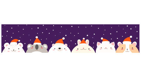 Christmas horizontal banner with cute animals in Santa hat. Faces of lovely polar bear, hamster; snow leopard, koala, cat and rabbit against the background of falling snow. For Christmas design. Illustration
