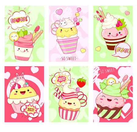 Set of cards with cute sweet desserts in kawaii style with smiling face and pink cheeks. Ice cream, cake, sundae kids, cupcake, donuts. Collection of banner, background, flyer, placard. Vector
