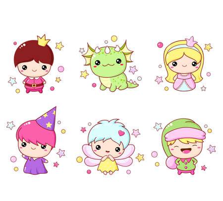 Set of kawaii fairy tale characters. Little fairy, prince, princess, dragon, wizard and elf. Cute fairytale collection. Ilustracja