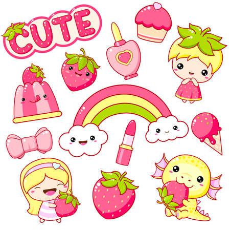 Strawberry collection. Set of   summertime stickers. Little girl and dragon with ripe strawberry, rainbow, lipstick, cupcake, ice cream. Cute summer kit. Vector