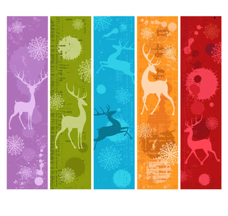 Set of Christmas vertical banner, gift tag, card, badge, sticker in retro style with silhouette of deer. Vector vertical grunge template card for greeting, decoration, congratulation, invitation. EPS8