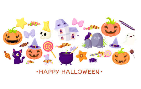 Set of Halloween cartoon characters. Mice and witch cauldron, ghost, haunted house, raven at the grave stone, black cat, pumpkins, skull with candle, candy. Collection of holiday symbols. Vector EPS8