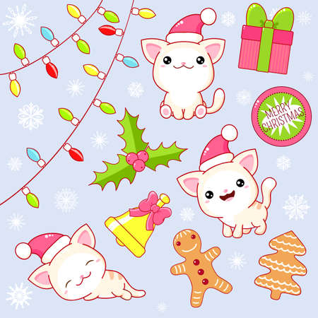 Christmas collection. Set of kawaii little cats in various poses. Cute kitty in Santa hat. Stickers with gift, xmas garland, gingerbread, bell, holly berry. Vector EPS8