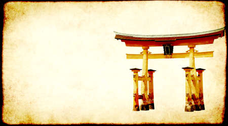 Horizontal banner with Torii gate and vintage paper texture. Retro background with traditional japanese wooden O-Torii gate. Copy space for text. Mock up template