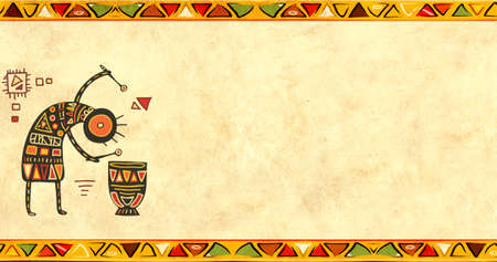 Horizontal banner with musician and vintage paper texture. Grunge background with African traditional patterns and paper texture of yellow color. Copy space for your text Фото со стока