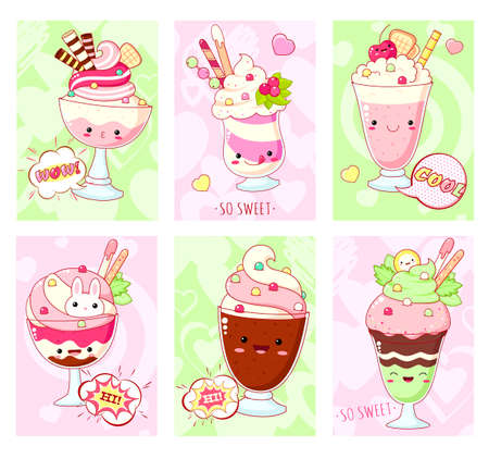 Set of cute sweet icons in kawaii style with smiling face and pink cheeks for sweet design. Ice cream, milkshake, sundae kids, fruit and milk cocktail. Vector illustration EPS8