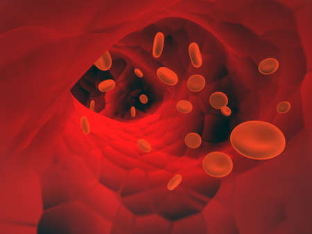 Many red erythrocytes, floating on an artery. 3d render