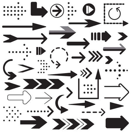 Collection of arrow flat icons. Set of Arrow linear fast moving signs. Cursor icon set. EPS8