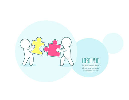 Teamwork, partnership and development concept. Horizontal banner with white simple puppets with puzzle. Two persons with jigsaw part. Little mans with details of puzzles. Vector