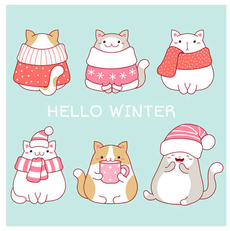 Hello winter. Christmas greeting card with four cute fat cats in scarves and hats. Six lovely cats in kawaii style on blue background. Vector EPS8