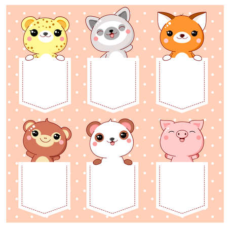 Cute cartoon characters pocket set. Baby collection of kawaii animals in pockets. Childish print with monkey, panda, fox, lemur, pig, leopard for t-shirt. T-shirt design. Illustration