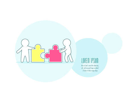 Teamwork, partnership and development concept. Horizontal banner with white simple puppets with puzzle. Two persons with jigsaw part. Little mans with details of puzzles. Vector EPS8