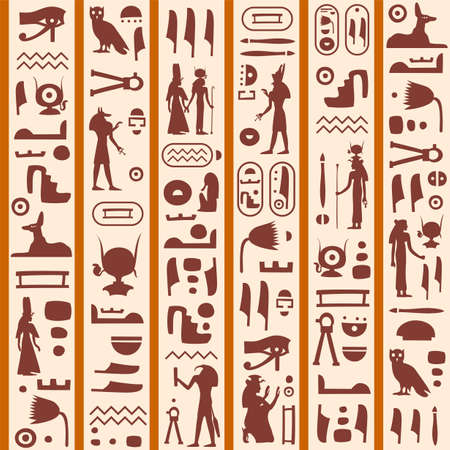 Vector seamless retro pattern (tiling) with ancient egyptian hieroglyphs and symbols. Endless texture can be used for pattern fills, web page background, fabric design, scrapbooking paper Ilustración de vector