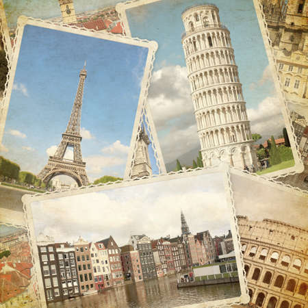 Square vintage travel background with retro photos of european landmarks and grunge old paper texture. Eiffel tower in Paris, Leaning Tower of Pisa, Colosseum in Rome, old houses in Amsterdam. 写真素材