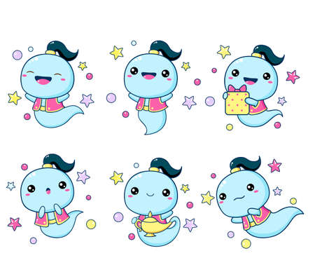 Set of kawaii genie. Collection of little genie expressing different emotions. Cute fairy tale characters. Vector EPS 8