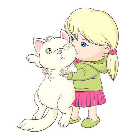 Best friends forever. Cute little girl that embraces with tenderness and love a white cat. Little girl tightly hugs fat displeased cat. Vector illustration EPS8