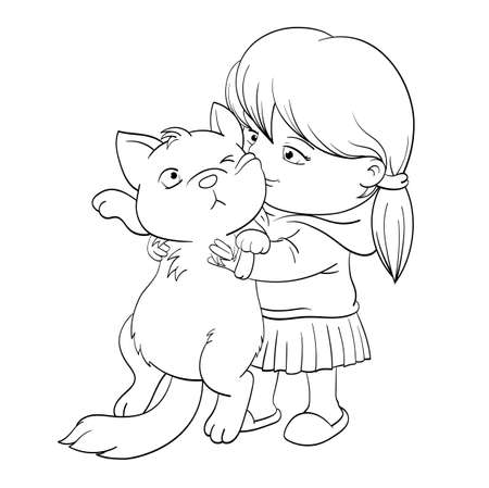 Black and white pattern for coloring. Best friends forever. Cute little girl that embraces with tenderness and love a white cat. Little girl tightly hugs fat displeased cat. Vector illustration EPS8 向量圖像