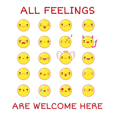 All feeling are welcome here. Vector banner with affirmation for kids playroom. Cute inspirational card with emojis and lettering. Motivational quote for greeting card, invitation, poster, nursery Ilustração